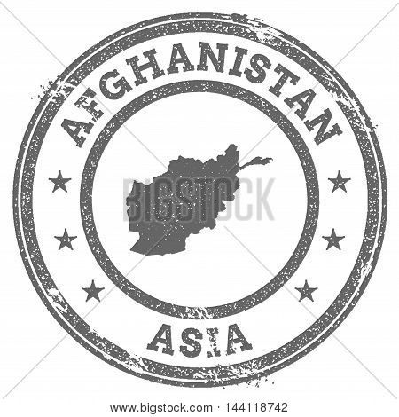 Afghanistan Grunge Rubber Stamp Map And Text. Round Textured Country Stamp With Map Outline. Vector