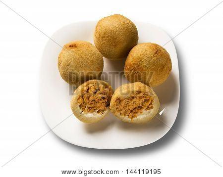 Brazilian Snack. Chicken Dumpling With Curd On White Background.