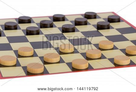 Detailed photo of the checkers board game