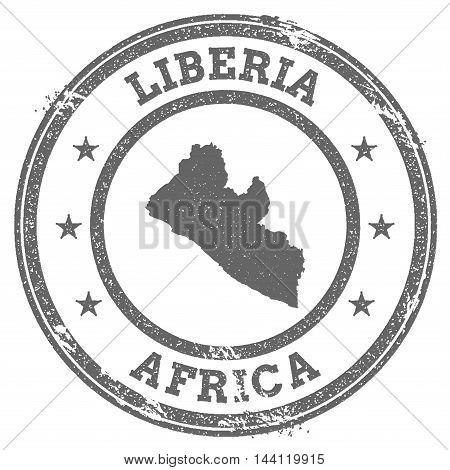 Liberia Grunge Rubber Stamp Map And Text. Round Textured Country Stamp With Map Outline. Vector Illu