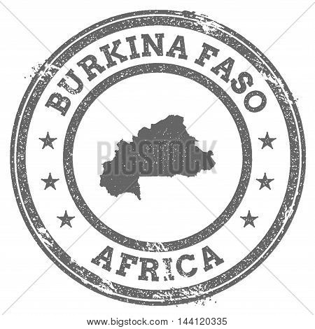 Burkina Faso Grunge Rubber Stamp Map And Text. Round Textured Country Stamp With Map Outline. Vector