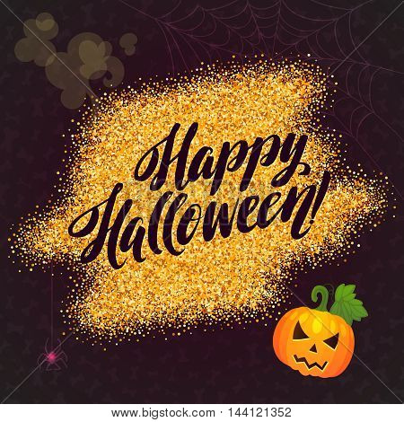 Happy Halloween Gold Sparkles Background with Pumpkin. Calligraphy Poster for your Party.