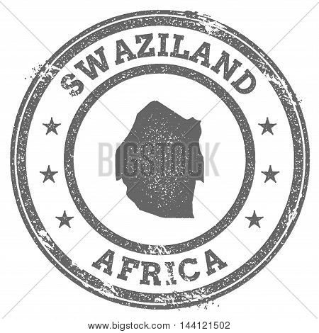Swaziland Grunge Rubber Stamp Map And Text. Round Textured Country Stamp With Map Outline. Vector Il
