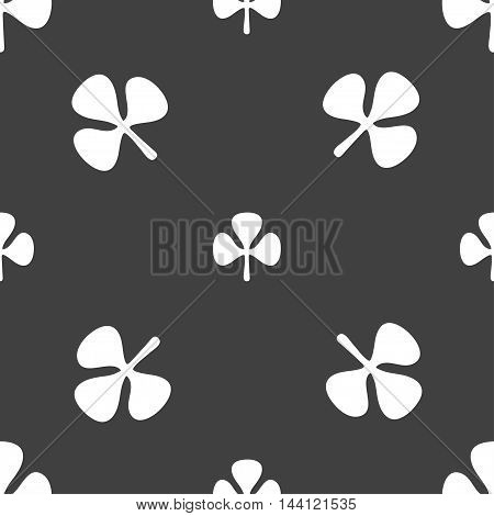 Clover Sign. Seamless Pattern On A Gray Background. Vector