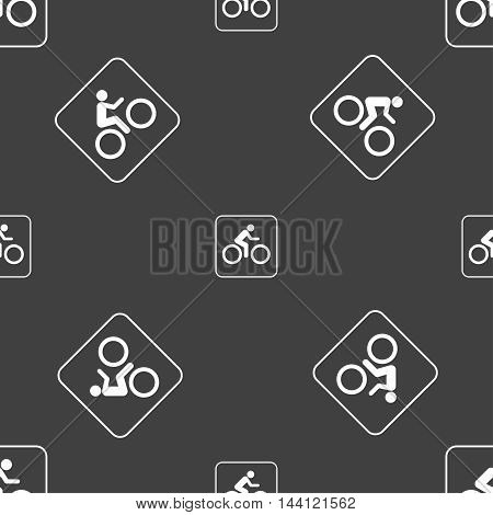Cyclist Sign. Seamless Pattern On A Gray Background. Vector