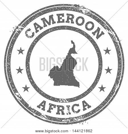 Cameroon Grunge Rubber Stamp Map And Text. Round Textured Country Stamp With Map Outline. Vector Ill