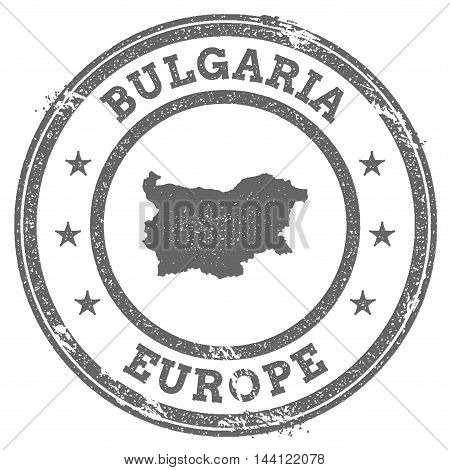 Bulgaria Grunge Rubber Stamp Map And Text. Round Textured Country Stamp With Map Outline. Vector Ill