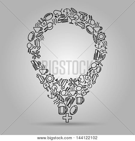 Navigation sign with popular travel icons vector