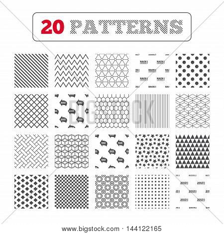 Ornament patterns, diagonal stripes and stars. Back to school icons. Studies after the holidays signs. Pencil symbol. Geometric textures. Vector
