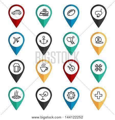 Travel navigation icons set. Map pointers set vector illustration