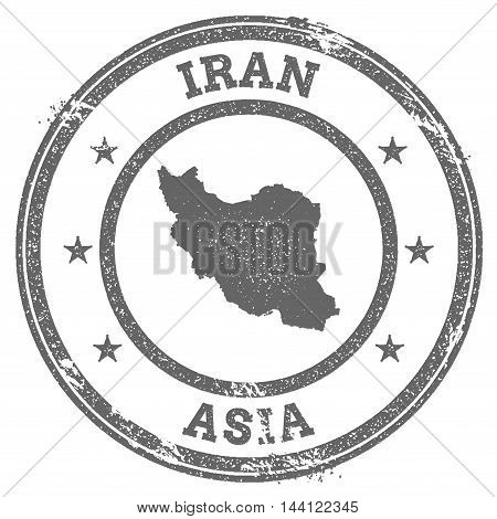 Iran, Islamic Republic Of Grunge Rubber Stamp Map And Text. Round Textured Country Stamp With Map Ou