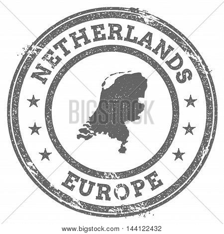 Netherlands Grunge Rubber Stamp Map And Text. Round Textured Country Stamp With Map Outline. Vector