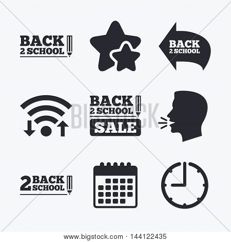 Back to school sale icons. Studies after the holidays signs. Pencil symbol. Wifi internet, favorite stars, calendar and clock. Talking head. Vector