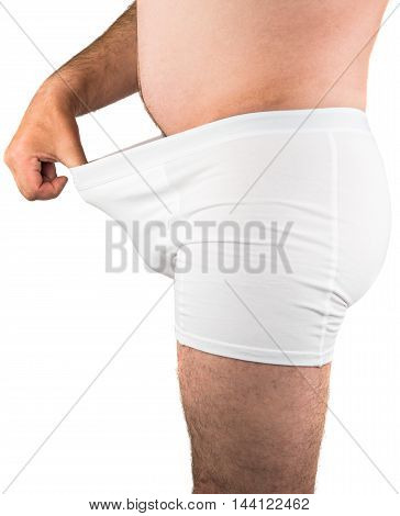 close up of man on white boxer underwear, isolate on white background