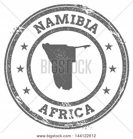 Namibia Grunge Rubber Stamp Map And Text. Round Textured Country Stamp With Map Outline. Vector Illu