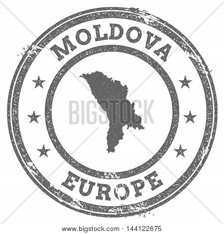Moldova, Republic Of Grunge Rubber Stamp Map And Text. Round Textured Country Stamp With Map Outline
