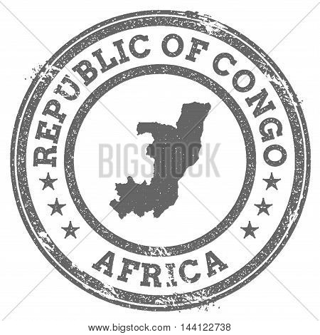 Congo Grunge Rubber Stamp Map And Text. Round Textured Country Stamp With Map Outline. Vector Illust