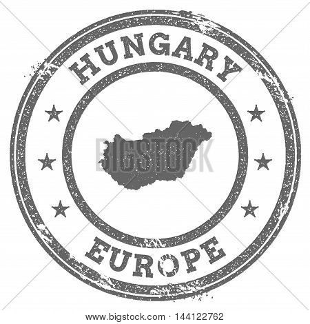 Hungary Grunge Rubber Stamp Map And Text. Round Textured Country Stamp With Map Outline. Vector Illu