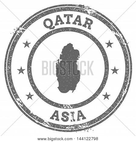 Qatar Grunge Rubber Stamp Map And Text. Round Textured Country Stamp With Map Outline. Vector Illust