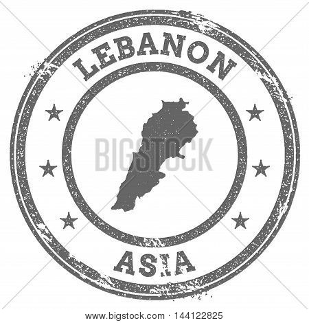 Lebanon Grunge Rubber Stamp Map And Text. Round Textured Country Stamp With Map Outline. Vector Illu