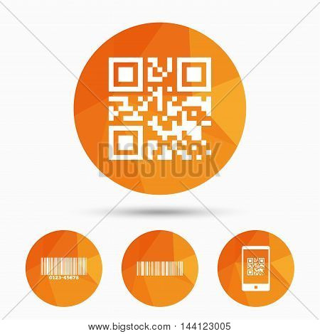 Bar and Qr code icons. Scan barcode in smartphone symbols. Triangular low poly buttons with shadow. Vector