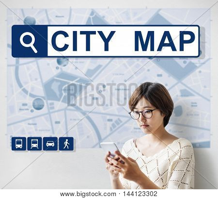 City Map Destination Route Way Route Concept