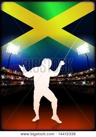 Jamaican Fencing on Stadium Background Original Illustration