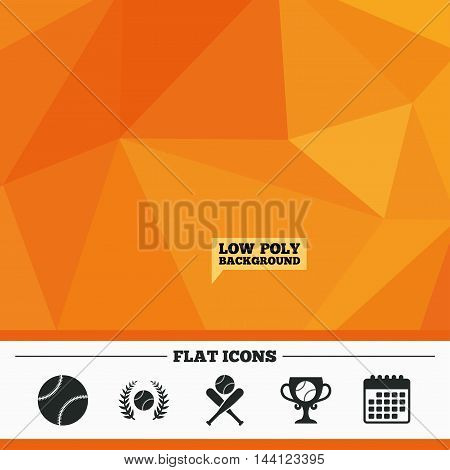 Triangular low poly orange background. Baseball sport icons. Ball with glove and two crosswise bats signs. Winner award cup symbol. Calendar flat icon. Vector