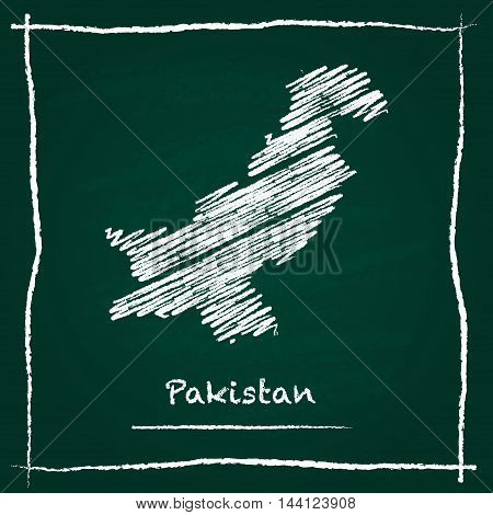 Pakistan Outline Vector Map Hand Drawn With Chalk On A Green Blackboard. Chalkboard Scribble In Chil