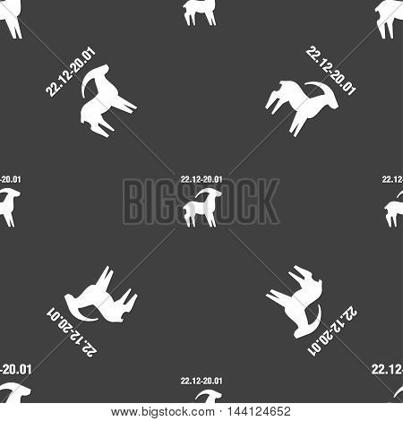 Capricorn Sign. Seamless Pattern On A Gray Background. Vector