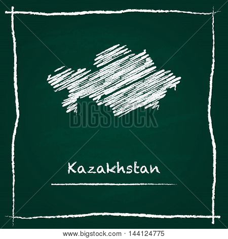 Kazakhstan Outline Vector Map Hand Drawn With Chalk On A Green Blackboard. Chalkboard Scribble In Ch