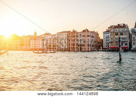 Venice, Italy - May 18, 2016: Venice cityscape view on Grand canal from Salute square at the sunset