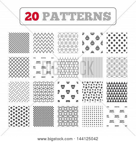 Ornament patterns, diagonal stripes and stars. Best mom and dad, brother and sister icons. Weight and flower signs. Award symbols. Geometric textures. Vector