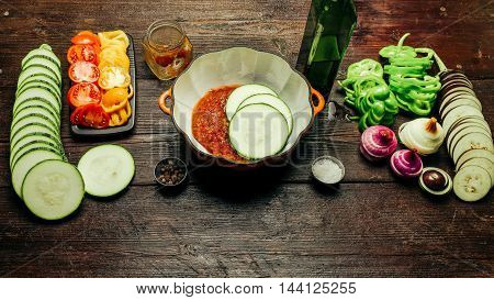 Vegetable ingredients and pan for cooking ratatouille - traditional French vegetarian dish