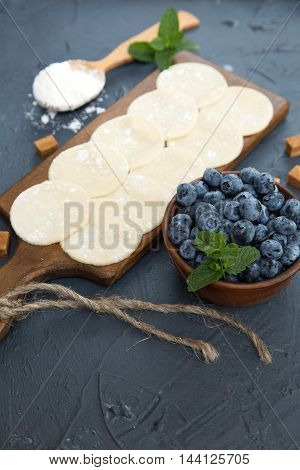 Dumplings with cottage cheese and blueberry. Russian varenik, Italian ravioli