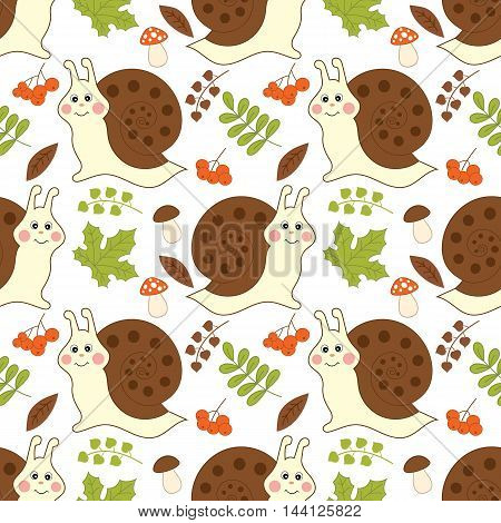 Vector seamless pattern with snails, berries and leaves