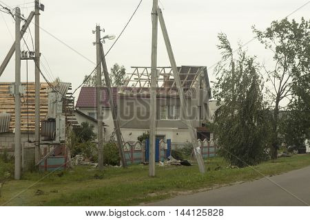 Tornado in the city of Minsk, Republic of Belarus 13.07.2016, consequences of natural disaster of destruction of inhabited constructions. Many people were left homeless.