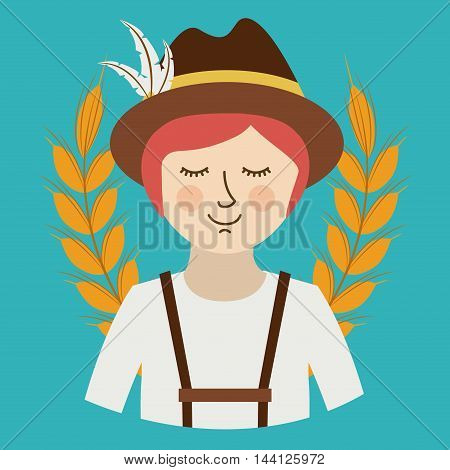man germany culture avatar vector illustration design