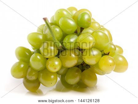 bunch of green grapes isolated on white background.