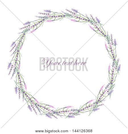 Wreath of lavender painted in watercolor on a white background, decoration postcard or invitation