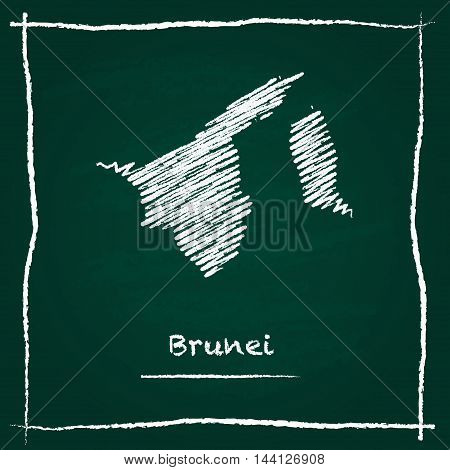 Brunei Darussalam Outline Vector Map Hand Drawn With Chalk On A Green Blackboard. Chalkboard Scribbl