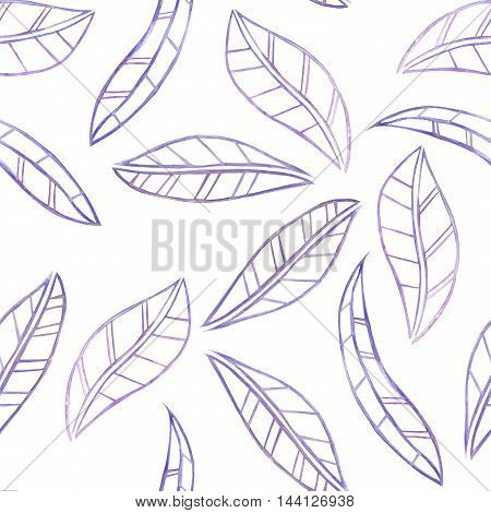 A seamless floral pattern with the watercolor violet leaves painted on a white background