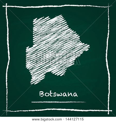 Botswana Outline Vector Map Hand Drawn With Chalk On A Green Blackboard. Chalkboard Scribble In Chil