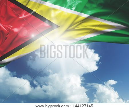 Guyana flag on a beautiful day
