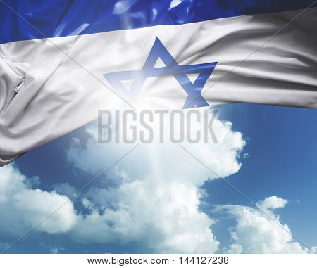 Israel flag on a beautiful day