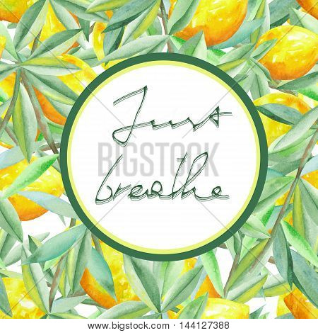 Circle frame on a seamless citrus pattern background with lemons on the branches with green leaves painted in watercolor on a white background