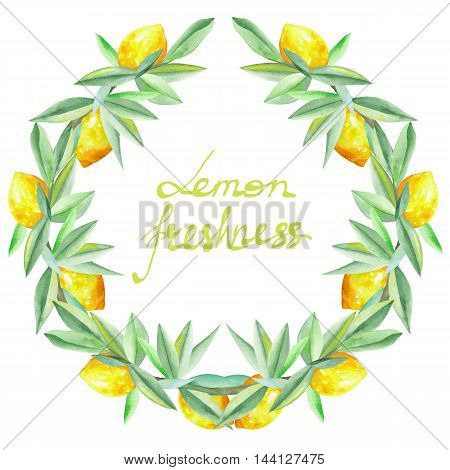 Frame border, wreath of yellow lemons on the branches with green leaves painted in watercolor on a white background for greeting card, decoration postcard or invitation