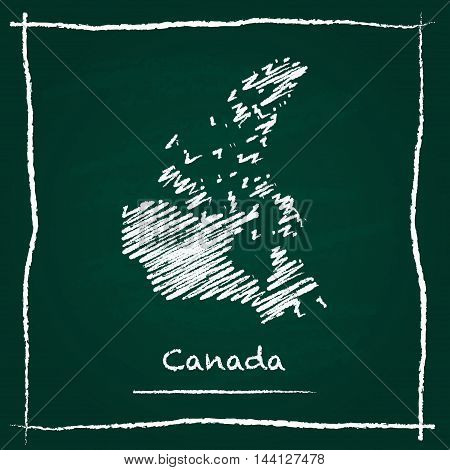 Canada Outline Vector Map Hand Drawn With Chalk On A Green Blackboard. Chalkboard Scribble In Childi