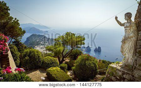Panorama of Capri island from Mount Solaro