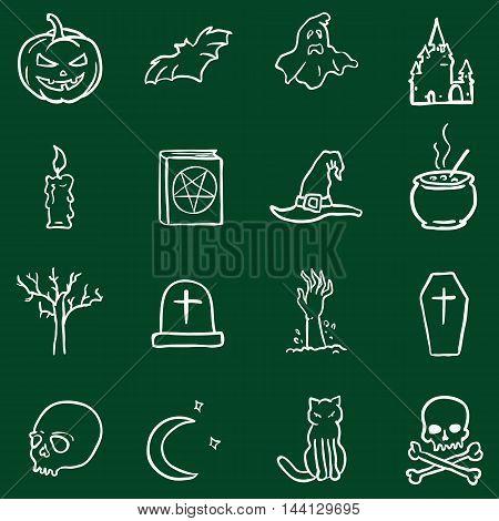 Vector Chalk Doodle Halloween Icons